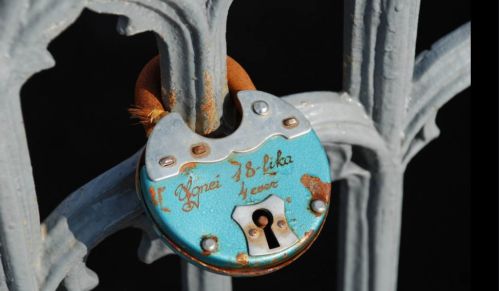 Closeup of blue padlock