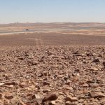 Deserted desert at the Syrian border