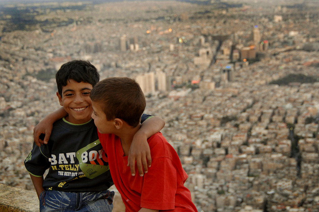 Two Kurdish boys on top of Mount Qasyun