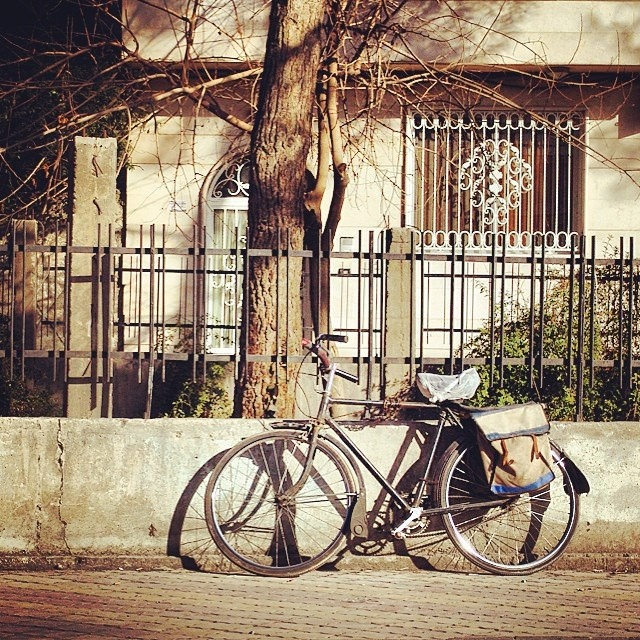 Bicycle leaning against railings in Damascus