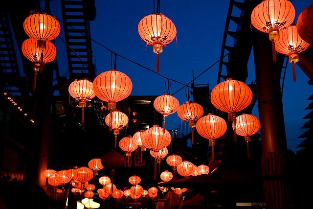 Lanterns lit at the Tivoli Gardens