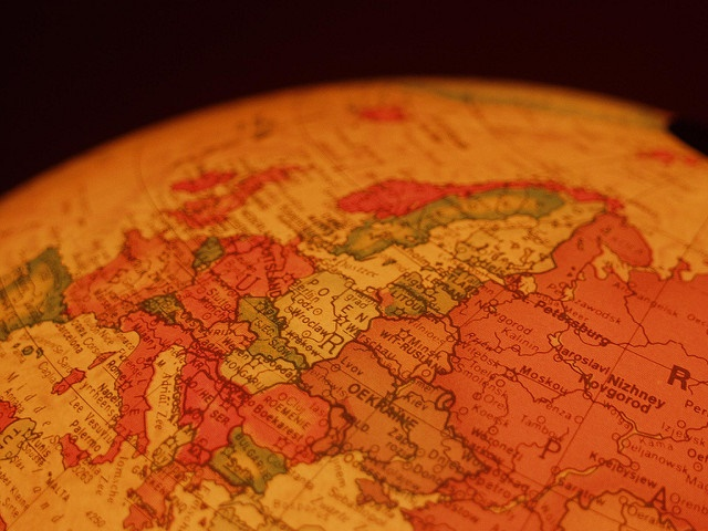 Globe showing Europe