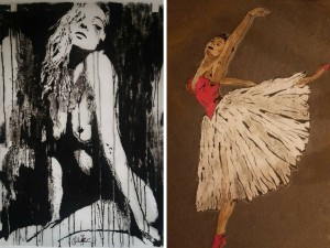 Two paintings, a woman and a dancer, by Elie Gerges