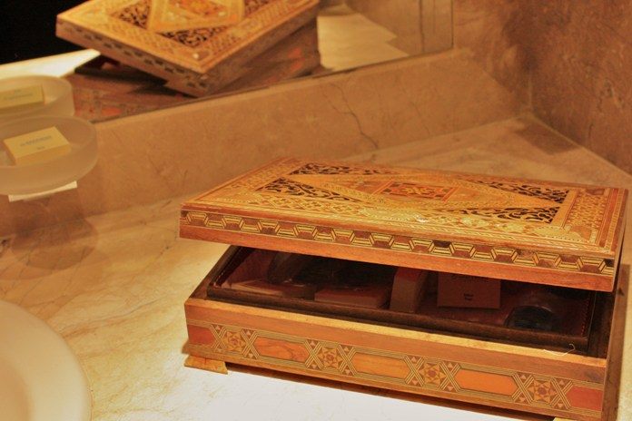 Inlaid box, partially open