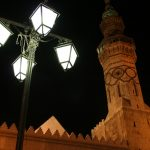 Ummayad Mosque and lamps by night