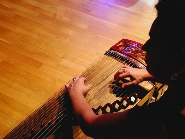woman in shadow with middle eastern instrument
