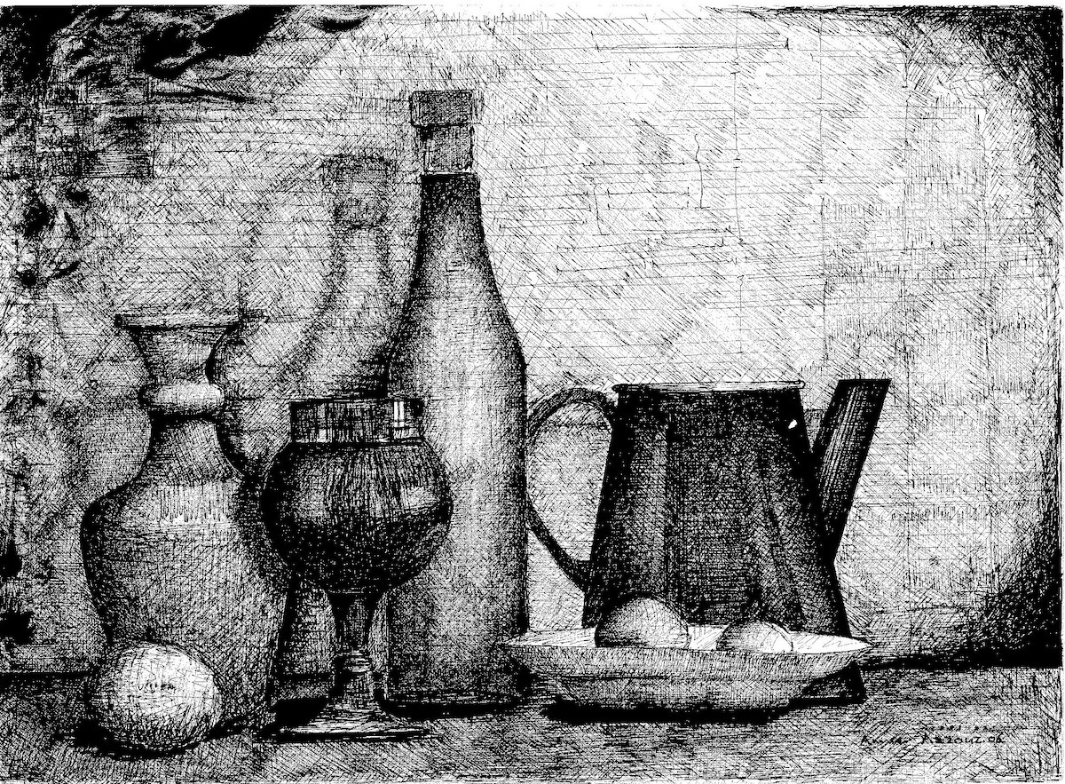 Black and white illustration of jugs and fruit