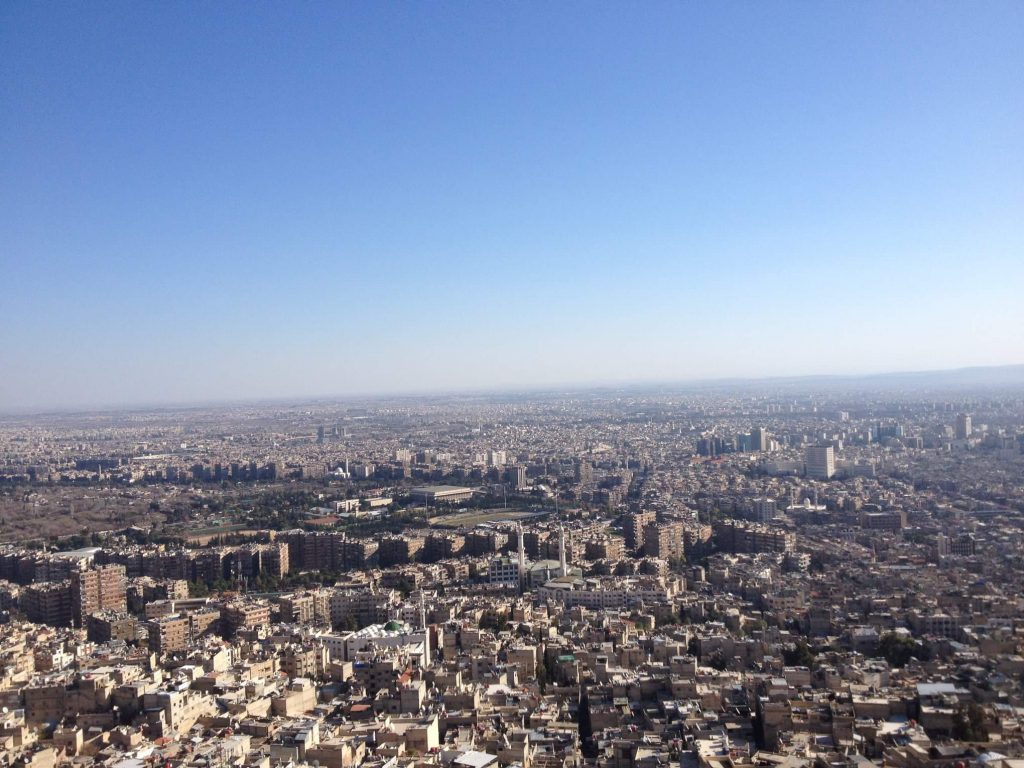 view of Damascus from Mount Qasioun.