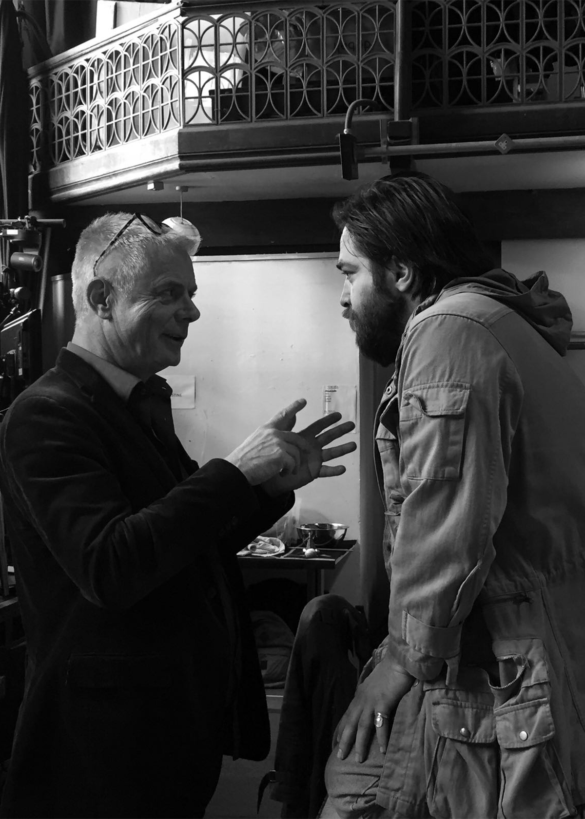 """Ammar Haj Ahmad, actor, and Stephen Daldry, co director of """"The Jungle"""", photographed by Jo Cox."""
